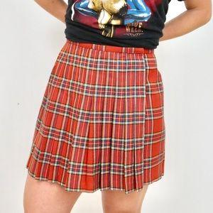 The Limited Skirts - Vintage Plaid Wool Pleated Wrap Mini Skirt Size 6